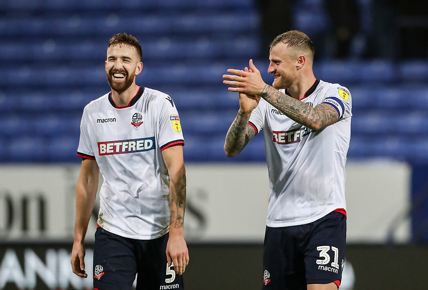 Bolton Wanderers' Mark Beevers and David Wheater are all smiles at the end of the match<br /> <br /> Photographer Andrew Kearns/CameraSport<br /> <br /> The EFL Sky Bet Championship - Bolton Wanderers v Rotherham United - Wednesday 26th December 2018 - University of Bolton Stadium - Bolton<br /> <br /> World Copyright © 2018 CameraSport. All rights reserved. 43 Linden Ave. Countesthorpe. Leicester. England. LE8 5PG - Tel: +44 (0) 116 277 4147 - admin@camerasport.com - www.camerasport.com