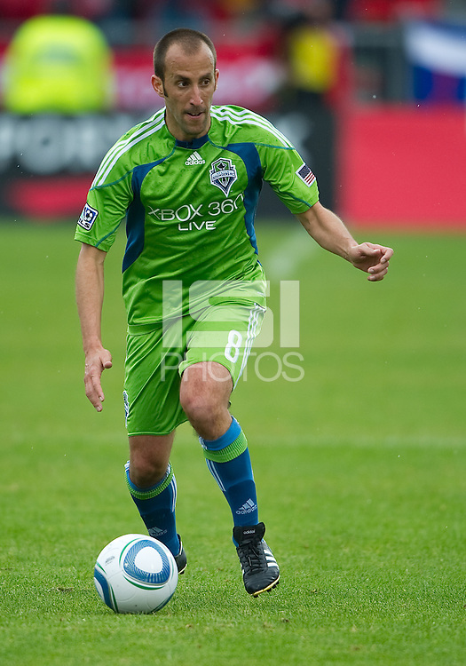 25 April 2010: Seattle Sounders midfielder Peter Vagenas #8 in action during a game between the Seattle Sounders and Toronto FC at BMO Field in Toronto..Toronto FC won 2-0....