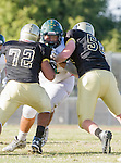 Palos Verdes, CA 10/07/16 - Gabor Nemeth (Peninsula #72), Jason Augello (Peninsula #58) and unidentified Mira Costa player(s) in action during the CIF Bay League game between Mira Costa and Peninsula.