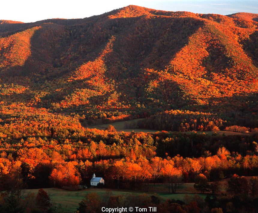 Cades Cove in Autumn, Great Smoky Mountains National Park, Tennessee   Valley in Appalchian Mountains   Historic Methodist Church