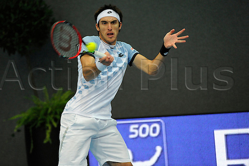 28.10.2015. Basel, Switzerland. Basel Swiss Indoor Tennis Championships. Day Four. Leonardo Mayer in action in the match between Leonardo Mayer of Argentina and Teymuraz Gabashvili of Russia