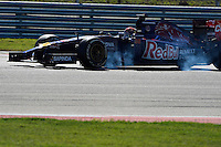 Max Verstappen of Scuderia Toro Rosso driving (38) STR9 during first practice session of  2014 Formula 1 United States Grand Prix, Friday, October 31, 2014 in Austin, Tex. (Mo Khursheed/TFV Media via AP Images)