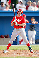 August 2, 2009:  First Baseman Stephen Batts of the Williamsport Crosscutters reacts to a strike call during a game at Dwyer Stadium in Batavia, NY.  Williamsport is the Short-Season Class-A affiliate of the Philadelphia Phillies.  Photo By Mike Janes/Four Seam Images