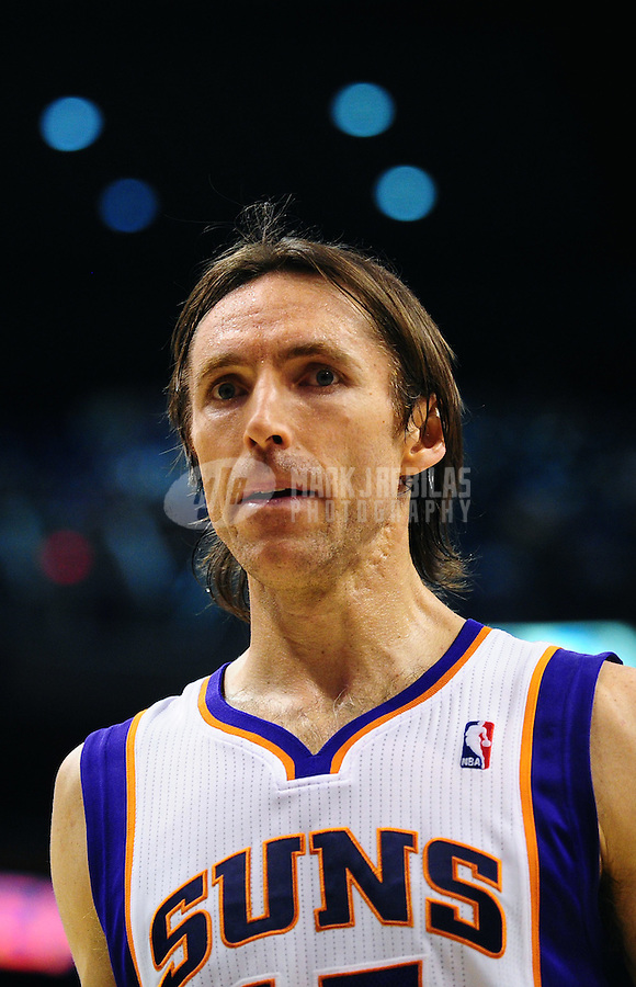Jan. 26, 2011; Phoenix, AZ, USA; Phoenix Suns guard (13) Steve Nash against the Charlotte Bobcats at the US Airways Center. The Bobcats defeated the Suns 114-107. Mandatory Credit: Mark J. Rebilas-