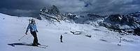 Europe/Italie/Trentin Haut-Adige/Dolomites/Val-Gardena/Seceda:Ski Alpin dans le Massif des Dolomites sur les pentes du Seceda