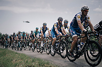 Team Quickstep Floors escorting stage favorite (and eventual winner) Marcel Kittel (DEU/QuickStep Floors) to the finish<br /> <br /> 104th Tour de France 2017<br /> Stage 6 - Vesoul › Troyes (216km)