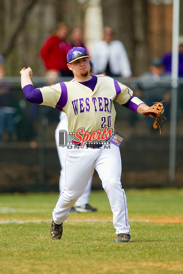 Western Carolina Catamounts third baseman Tyler White (20) makes a throw to first base against the Davidson Wildcats at Wilson Field on March 10, 2013 in Davidson, North Carolina.  The Catamounts defeated the Wildcats 5-2.  (Brian Westerholt/Sports On Film)