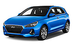 2017 Hyundai i30 Luxury-Launch-Edition 5 Door Hatchback Angular Front stock photos of front three quarter view
