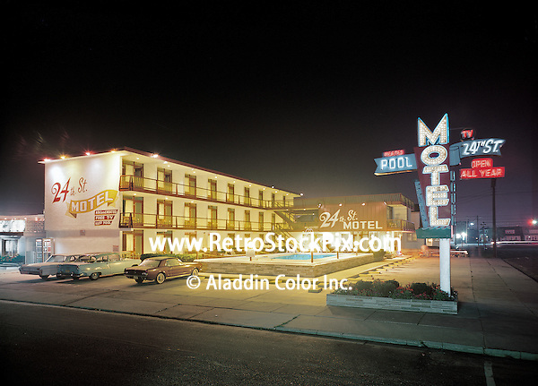 24th Street Motel in the 1960's. This is the original neon sign before it was damaged and replaced.