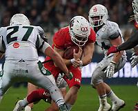 QB Brandon Cornette (Braunschweig Lions) geht mit dem Ball und sichert den Sieg der Lions - 12.10.2019: German Bowl XLI Braunschweig Lions vs. Schwäbisch Hall Unicorns, Commerzbank Arena Frankfurt