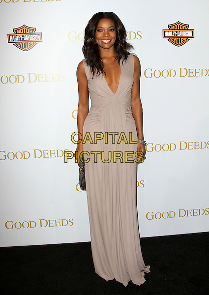 "Gabrielle Union.""Good Deeds"" Premiere Held At Regal Cinemas L.A. Live, Los Angeles, California, USA..January 14th, 2012.full length dress beige grey gray sleeveless cleavage.CAP/ADM/KB.©Kevan Brooks/AdMedia/Capital Pictures."