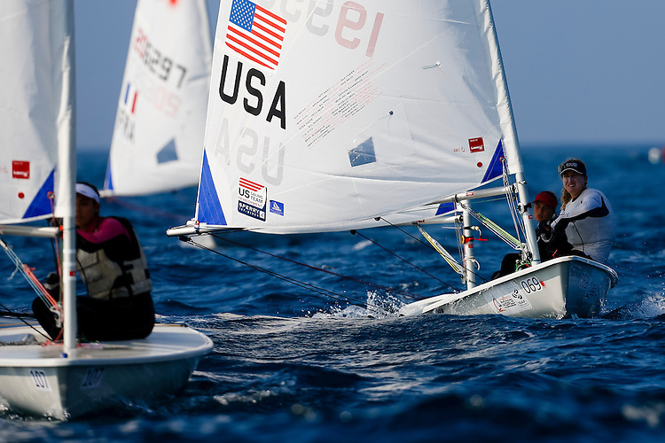 20140912, Santander, Spain: 2014 ISAF SAILING WORLD CHAMPIONSHIPS - More than 1,250 sailors in over 900 boats from 84 nations will compete at the Santander 2014 ISAF Sailing World Championships from 8-21 September 2014. The best sailing talent will be on show and as well as world titles being awarded across ten events 50% of Rio 2016 Olympic Sailing Competition places will be won based on results in Santander. Boat class and Sailor(s): Laser Radial - USA199535 - Christine NEVILLE. Photo: Mick Anderson/SAILINGPIX.DK.