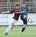 Stenny's Kieran Millar and Forfar's Dale Hilson challenge for the ball.