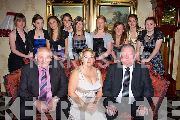GUEST: Jerome Conway chairman of the Kerry County Board who was guest of honour at the Kerry Ladies Award Dinner in the Ballyroe Heights Hotel, Tralee on Friday night. Front l-r: Jerry Moloney (Chairman of Kerry Ladies Football), Catherine Keogh (secretary Kerry Ladies) and Jerome Conway(Chairman of Kerry County Board). Back l-r: Dani Sheahan (Caherciveen), Niamh Deho?ra (Corcadhuibhne), Caoimhe O'Sullivan (Listowel), Megan O'Connell (caherciveen), Maria Quirke (Tralee), Niamh O'Connell (Castleisland), Orla O'Donovan, Amy Fitzgerald and Sarah Kelly (Caherciveen)............................ ..............................   Copyright Kerry's Eye 2008