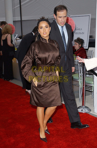 SALMA HAYEK.A The Placido Domingo & Friends Concert and Gala held at The Dorothy Chandler Pavilion in downtown L.A..brown dress, full length, full-length.www.capitalpictures.com.sales@capitalpictures.com.©Capital Pictures