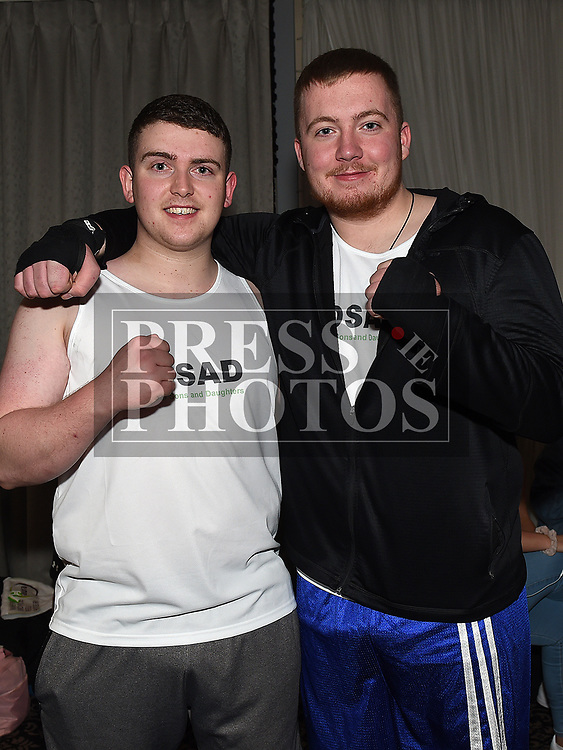 Ciaran Hurley and Robbie Maher who took part in the White Collar boxing event in the Westcourt hotel in aid of SOSAD. Photo:Colin Bell/pressphotos.ie