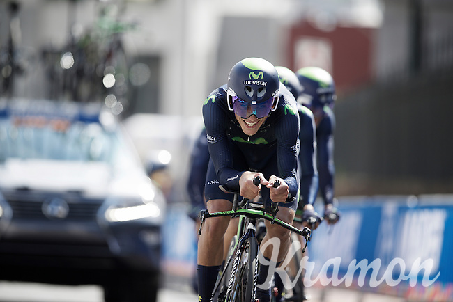 Team Movistar in the last kilometer before the finish<br /> <br /> Elite Men&rsquo;s Team Time Trial<br /> UCI Road World Championships Richmond 2015 / USA