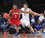 SIOUX FALLS, SD - MARCH 5:  John Konchar #4 of Fort Wayne defends Tre Burnette #2 of South Dakota in 2016 Summit League Tournament play. (Photo by Dick Carlson/Inertia)