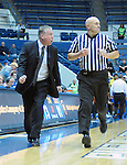 January 14, 2017:  Air Force head coach, Dave Pilipovich, protests a call during the NCAA basketball game between the San Jose State Spartans and the Air Force Academy Falcons, Clune Arena, U.S. Air Force Academy, Colorado Springs, Colorado.  San Jose State defeats Air Force 89-85.