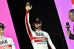 Fernando Gaviria (COL) UAE Team Emirates on stage at the Teams Presentation held in Piazza Maggiore Bologna before the start of the 2019 Giro d'Italia, Bologna, Italy. 9th May 2019.<br /> Picture: Fabio Ferrari/LaPresse | Cyclefile<br /> <br /> All photos usage must carry mandatory copyright credit (&copy; Cyclefile | Fabio Ferrari/LaPresse)