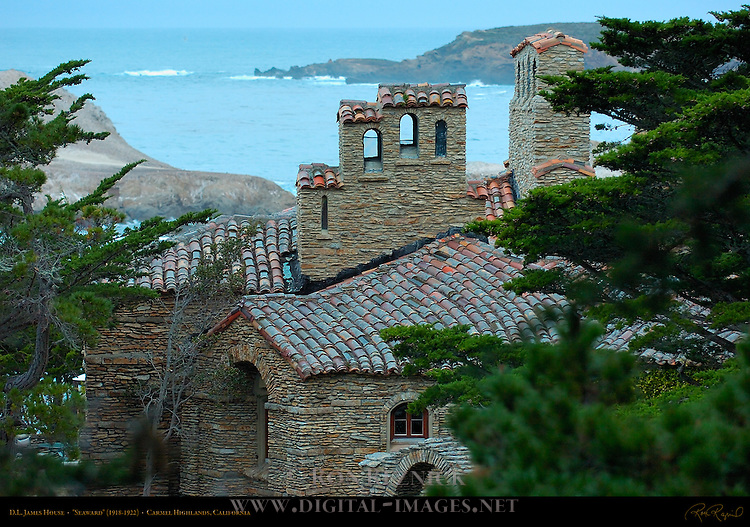 "D.L. James House at dawn, ""Seaward"" stone house 1918-1922, Carmel Highlands, California"