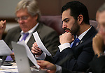 Nevada Senate Democrats Tick Segerblom, left, and Ruben Kihuen work in committee at the Legislative Building, in Carson City, Nev., on Thursday, Feb. 19, 2015. <br /> Photo by Cathleen Allison