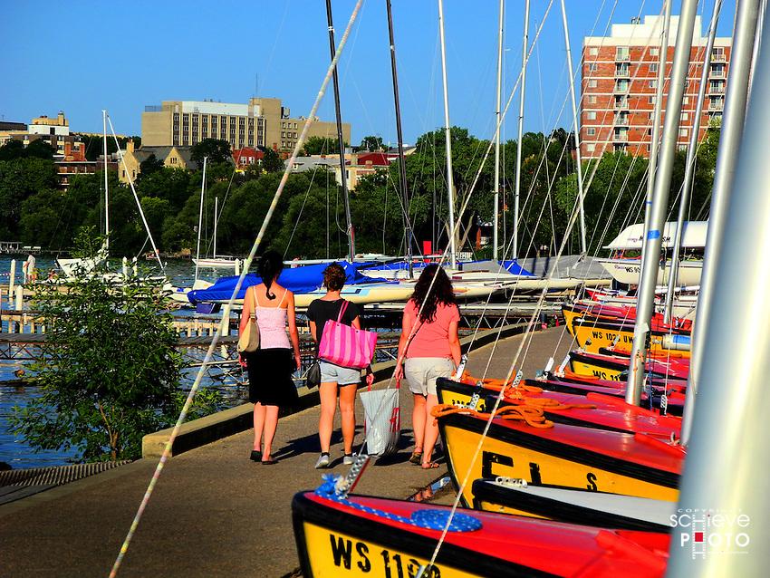 University of Wisconsin-Madison sailboats along the shore of Lake Mendota.