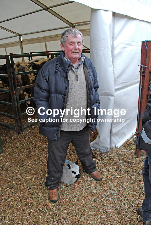 It wasn't just ploughing at this annual event. Robert McCauley, from Dromore Co Down, was there exhibiting his Kerryhill sheep in the Rare Breeds section. Suzie, the lamb at his feet, lost her mother at birth and now follows Robert everywhere he goes. Taken 28 February 2009 at 95th annual ploughing match of Mullahead &amp; District Ploughing Society, Co Down, N Ireland, UK, 200902281946.<br /> <br /> Copyright Image from Victor Patterson,<br /> 54 Dorchester Park, Belfast, UK, BT9 6RJ<br /> <br /> t: +44 28 90661296<br /> m: +44 7802 353836<br /> e1: victorpatterson@me.com<br /> e2: victorpatterson@gmail.com<br /> <br /> For my Terms and Conditions of Use go to<br /> www.victorpatterson.com