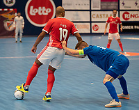 20191012 - HALLE: Benfica's Fits and Halle-Gooik's captain Rafael Teixiera are pictured during the UEFA Futsal Champions League Main Round match between FP Halle-Gooik (BEL) and SL Benfica (POR) on 12th October 2019 at De Bres Sportcomplex, Halle, Belgium. PHOTO SPORTPIX | SEVIL OKTEM