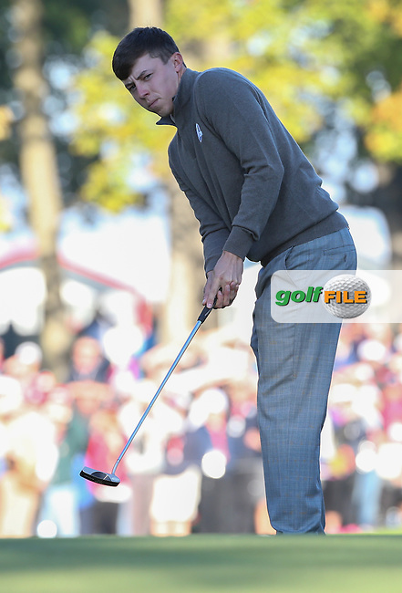 Matthew Fitzpatrick (Team Europe) putting on the 4th during the Saturday Morning Foursomes, at the 41st Ryder Cup 2016, at Hazeltine National Golf Club, Minnesota, USA.  01View of the 10th2016. Picture: David Lloyd | Golffile.