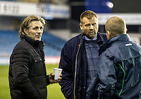 Wycombe Wanderers Manager Gareth Ainsworth and Wycombe Wanderers Chairman Andrew Howard during the Checkatrade Trophy round two Southern Section match between Millwall and Wycombe Wanderers at The Den, London, England on the 7th December 2016. Photo by Liam McAvoy.