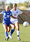 SIOUX FALLS, SD - SEPTEMBER 5: Emily Kosch #20 from Nebraska Kearney battles for the loose ball with Gaby Gil #11 from the University of Sioux Falls in the first half of their game Friday evening in Sioux Falls.  (Photo by Dave Eggen/Inertia)