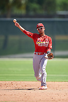 GCL Cardinals shortstop Edwin Figuera (3) throws to first during the first game of a doubleheader against the GCL Marlins on August 13, 2016 at Roger Dean Complex in Jupiter, Florida.  GCL Cardinals defeated GCL Marlins 4-2 in a continuation of a game originally started on August 8th.  (Mike Janes/Four Seam Images)