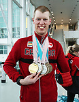 Pyeongchang, Korea, 19/3/2018-Mark Arendz, athletes return from the 2018 Paralympic Games. Airport Toronto. Photo: Scott Grant/Canadian Paralympic Committee.