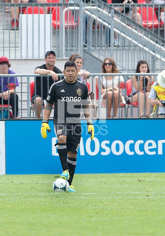 29 June 2013: Real Salt Lake goalkeeper Nick Rimando #18 in action during an MLS game between Real Salt Lake and Toronto FC at BMO Field in Toronto, Ontario Canada.<br /> Real Salt Lake won 1-0.
