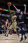 Amber Campbell (2) of the Wake Forest Demon Deacons drives to the basket past Jessica Shepard (23) of the Notre Dame Fighting Irish during second half action at the LJVM Coliseum on December 31, 2017 in Winston-Salem, North Carolina.  The Fighting Irish defeated the Demon Deacons 96-73.  (Brian Westerholt/Sports On Film)