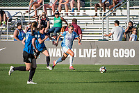 Kansas City, MO - Sunday May 07, 2017: Christina Gibbons, Steph Catley during a regular season National Women's Soccer League (NWSL) match between FC Kansas City and the Orlando Pride at Children's Mercy Victory Field.