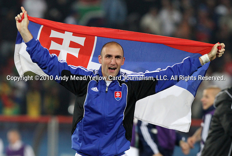24 JUN 2010: Robert Vittek (SVK) celebrates after the game. The Slovakia National Team defeated the Italy National Team 3-2 at Ellis Park Stadium in Johannesburg, South Africa in a 2010 FIFA World Cup Group F match.