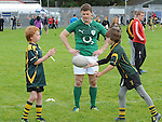Irish international rugby star Brian O'Driscoll watches Joe Sayers and Milo Newton at the training day at Boyne RFC. Photo: Colin Bell/pressphotos.ie