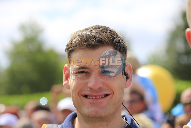 Eurosport's Ashley House at sign on in Mondorf-les-Bains before the start of Stage 4 of the 104th edition of the Tour de France 2017, running 207.5km from Mondorf-les-Bains, Luxembourg to Vittel, France. 4th July 2017.<br /> Picture: Eoin Clarke | Cyclefile<br /> <br /> <br /> All photos usage must carry mandatory copyright credit (&copy; Cyclefile | Eoin Clarke)