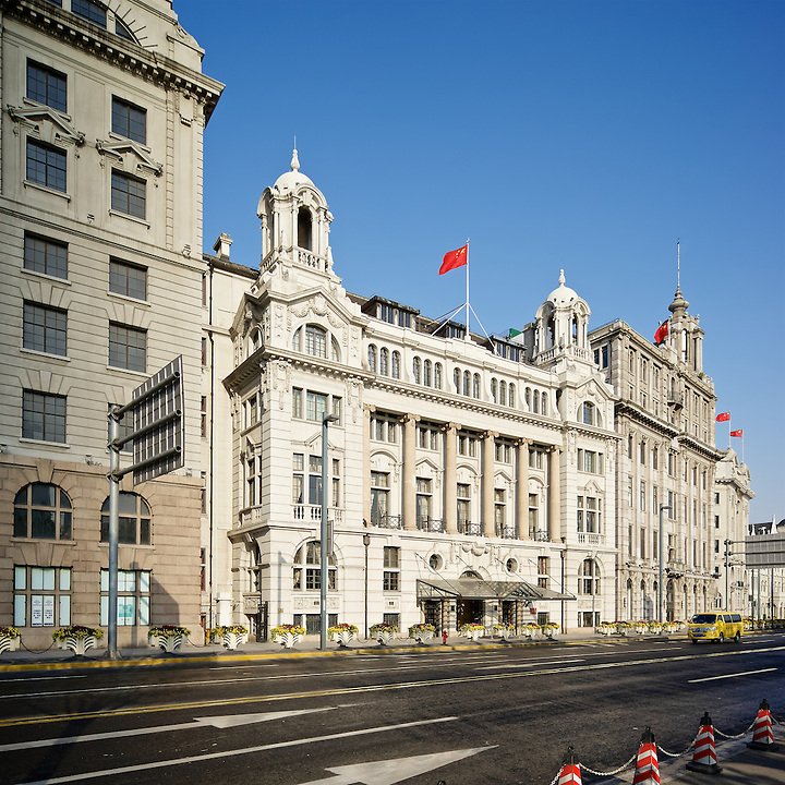 The Shanghai Club (Now The Waldorf Astoria Hotel).  APC Building Left; The Union Building Right.