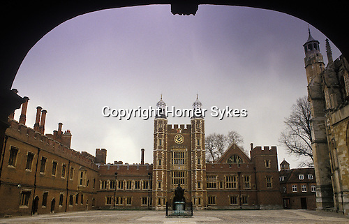 Eton College school buildings. The quadrangle and clock tower.