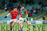 In Action M. Kerry's Gavin McKenna    and E.Kerry's Rob leen   Acorn Life Under 21 Football Championship seemi Finals East Kerry V Mid Kerry in Austin Stack Park on Thursday