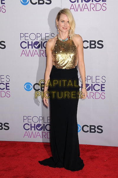 Naomi Watts.People's Choice Awards 2013 - Arrivals held at Nokia Theatre L.A. Live, Los Angeles, California, USA..January 9th, 2013.full length gold sleeveless sequins sequined collar embellished jewel encrusted top skirt black halterneck .CAP/ADM/BP.©Byron Purvis/AdMedia/Capital Pictures.