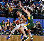 BROOKINGS, SD - FEBRUARY 1: Skyler Flatten #1 from South Dakota State University eyes the basket while driving to the basket against Chris Quayle #13 from North Dakota State University during their game Thursday at Frost Arena in Brookings. (Photo by Dave Eggen/Inertia)