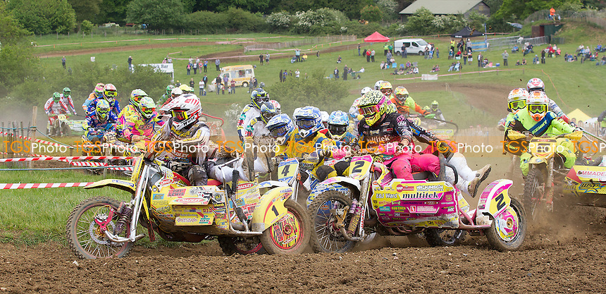 Stuart Brown and Josh Chamberlain get the hole shot in moto 2 during ACU British Sidecar Cross Championship Round Three at Wattisfield Hall MX Track on 22nd May 2016