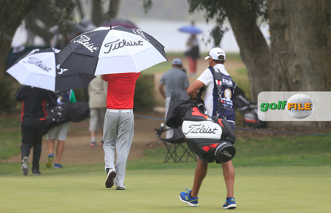 Kevin Phelan (IRL) on the 2nd green during Round 4 of the ISPS HANDA Perth International at the Lake Karrinyup Country Club on Sunday 26th October 2014.<br /> Picture:  Thos Caffrey / www.golffile.ie