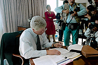Ann Arbor, Michigan, USA, October 19, 1992<br /> Presidential candidate Governor William Clinton working on his campaign debate speech in Hotel in Ann Arbor, Michigan before going to the debate at the University of Michigan. Credit: Mark Reinstein/MediaPunch