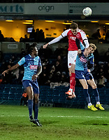 Fleetwood Town's Harry Souttar (centre) heads at goal under pressure from  Wycombe Wanderers' Jason McCarthy (right) <br /> <br /> Photographer Andrew Kearns/CameraSport<br /> <br /> The EFL Sky Bet League One - Wycombe Wanderers v Fleetwood Town - Tuesday 11th February 2020 - Adams Park - Wycombe<br /> <br /> World Copyright © 2020 CameraSport. All rights reserved. 43 Linden Ave. Countesthorpe. Leicester. England. LE8 5PG - Tel: +44 (0) 116 277 4147 - admin@camerasport.com - www.camerasport.com