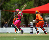 24th November 2019; Lilac Hill Park, Perth, Western Australia, Australia; Womens Big Bash League Cricket, Perth Scorchers versus Sydney Sixers; Erin Burns of the Sydney Sixers hits to the leg side during her innings - Editorial Use